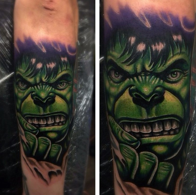Little Comic Books Style Forearm Tattoo Of Angry Hulk