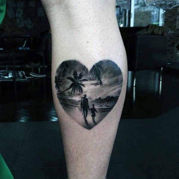 Little heart shaped sweet with family tattoo on leg
