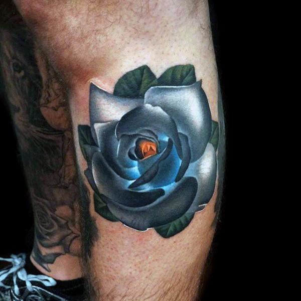 Little multicolored 3D like rose flower tattoo on leg