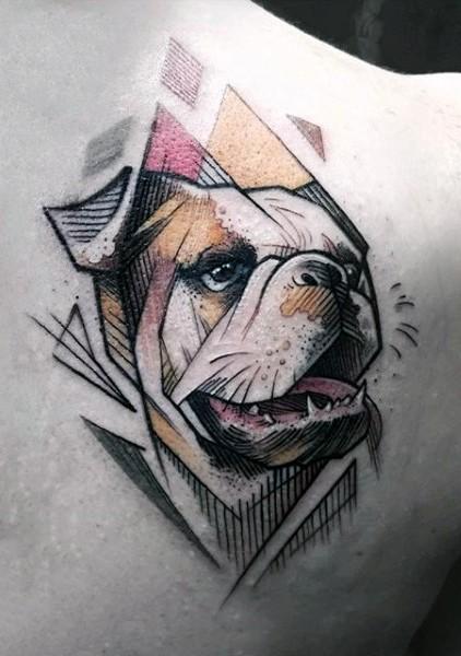 Little multicolored cute dog portrait tattoo on shoulder