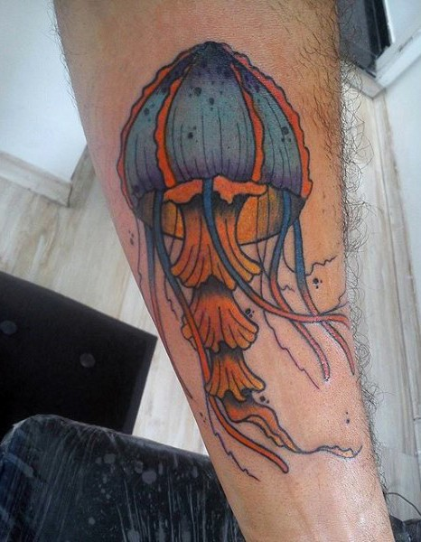 Little multicolored cute jellyfish tattoo on arm