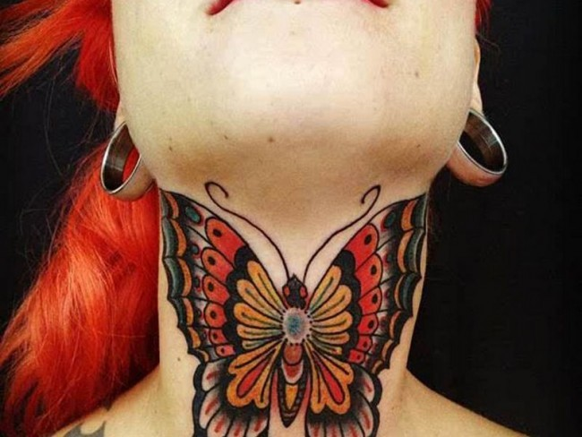 Little multicolored neck tattoo of beautiful butterfly