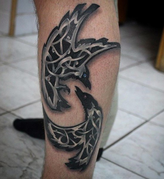 Little mystical painted black and white fighting crows tattoo on leg