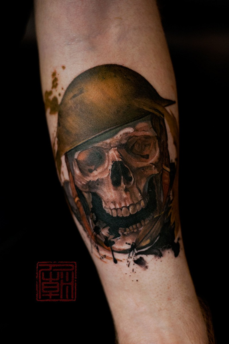 1dfe76fb0 Little natural colored forearm tattoo of military soldier skull ...