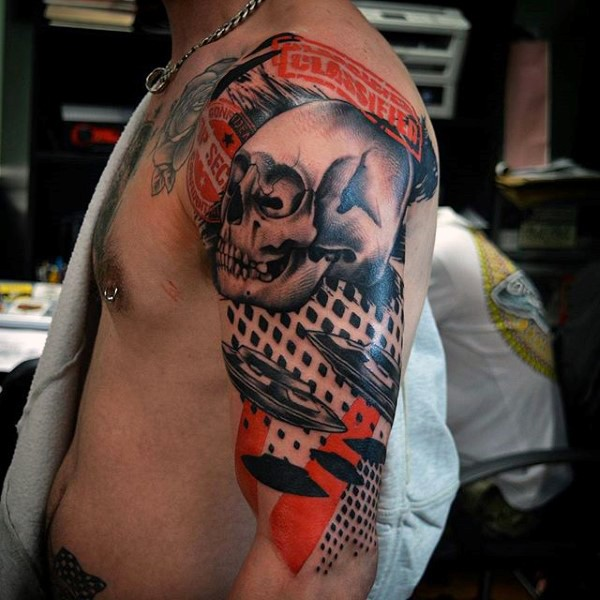Little original combined skull with alien ships and lettering half sleeve tattoo