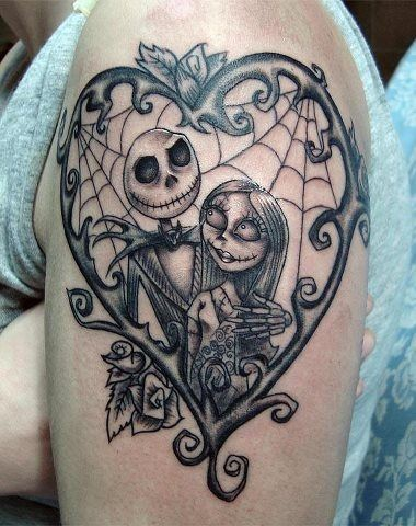 Little romantic black ink monster cartoon heroes shoulder tattoo