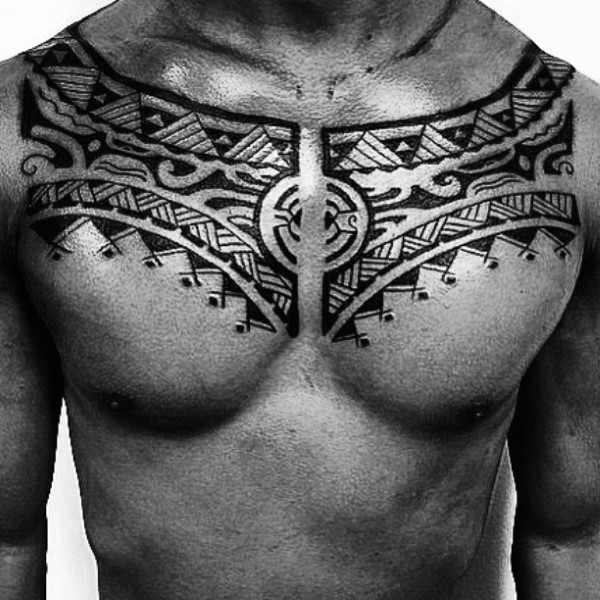 Little simple designed black and white tribal patterns tattoo on chest