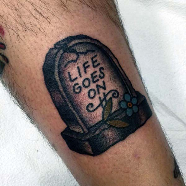 little simple painted tombstone with flowers tattoo on leg. Black Bedroom Furniture Sets. Home Design Ideas