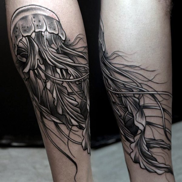 Little very realistic looking black and white jellyfish ...