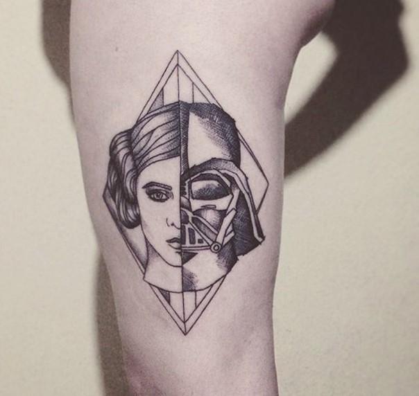Little vintage style black ink half Leia half Vader tattoo on arm
