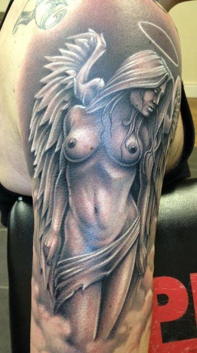 Lovely angel girl tattoo on half sleeve