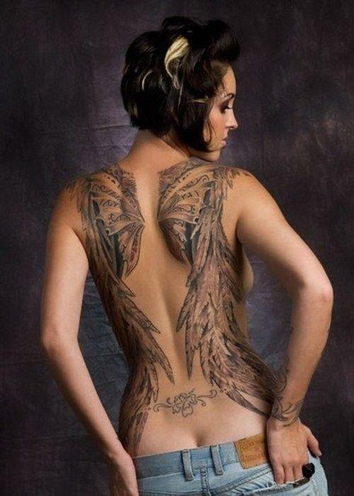 Lovely angel wings tattoo for girls