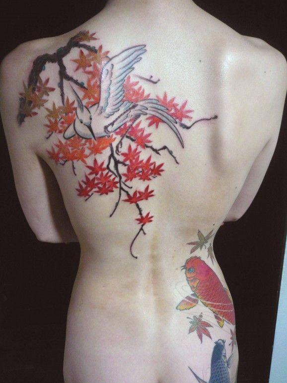 Tatuaggio sulla schiena in stile giapponese il ramo con i fogli & la carpa koi