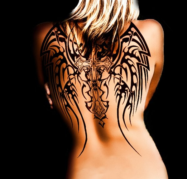Lovely black ink tribal cross with wings tattoo
