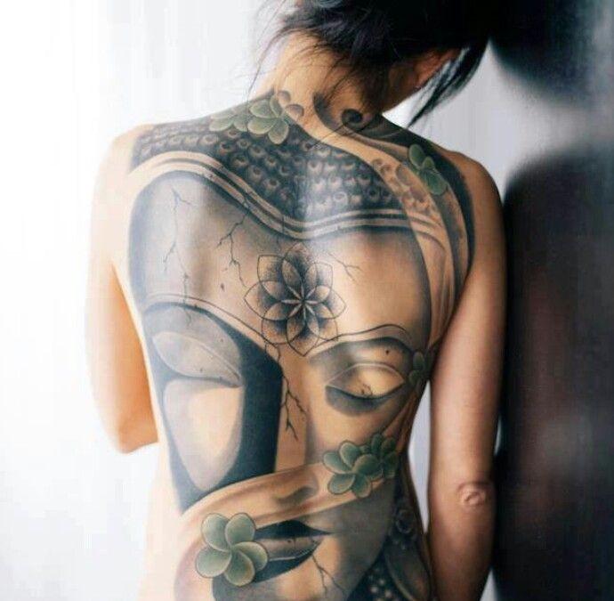 Lovely buddha tattoo on whole back for girls