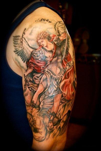 Lovely colorful saint michael tattoo