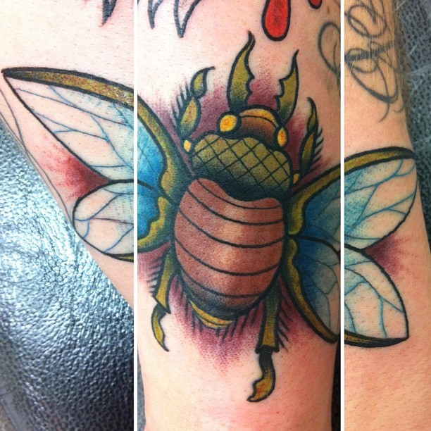 Lovely coloured bug tattoo