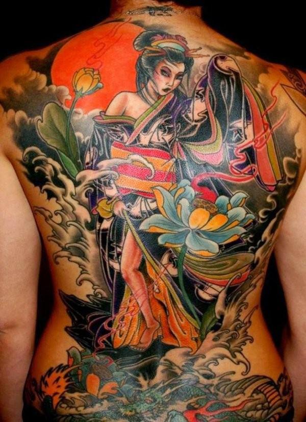 Lovely coloured japanese geisha tattoo on whole back