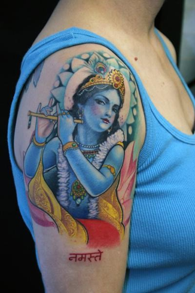 lovely deity krishna with flute tattoo on shoulder. Black Bedroom Furniture Sets. Home Design Ideas