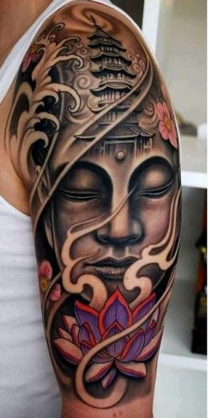 Lovely face buddha witn lotus tattoo on arm