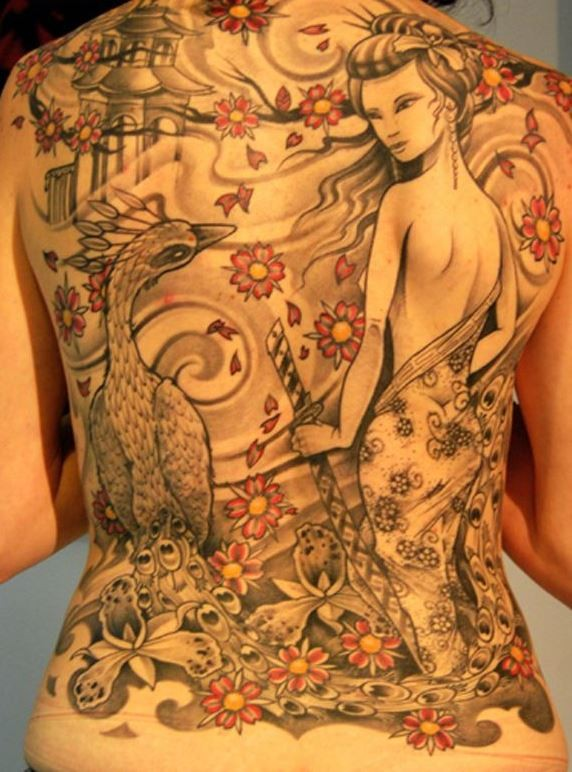 Lovely geisha and phoenix tattoo on back for girls