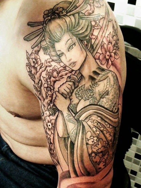 Lovely geisha tattoo on half sleeve