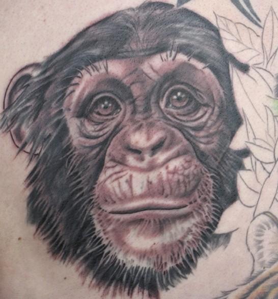 Tattoo von süßem Schimpansekopf in Grau