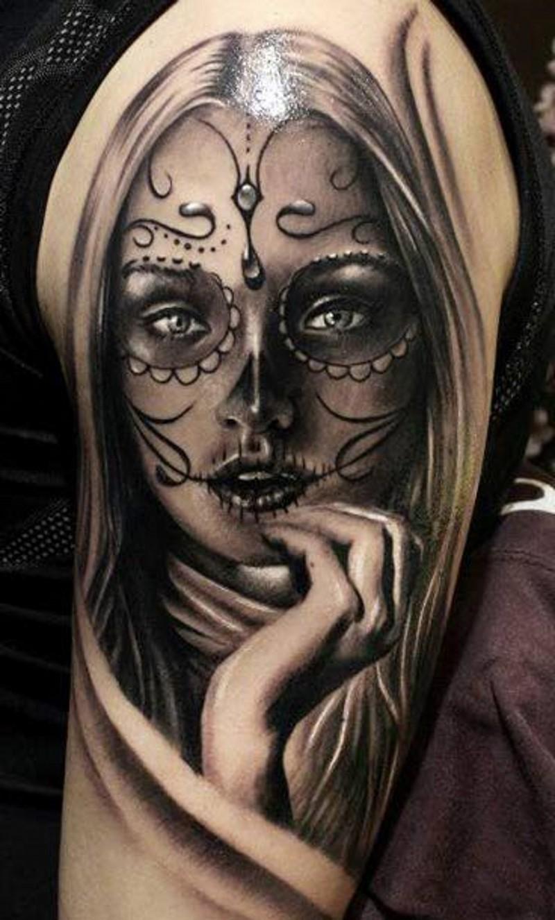 Lovely gray ink santa muerte girl tattoo on shoulder