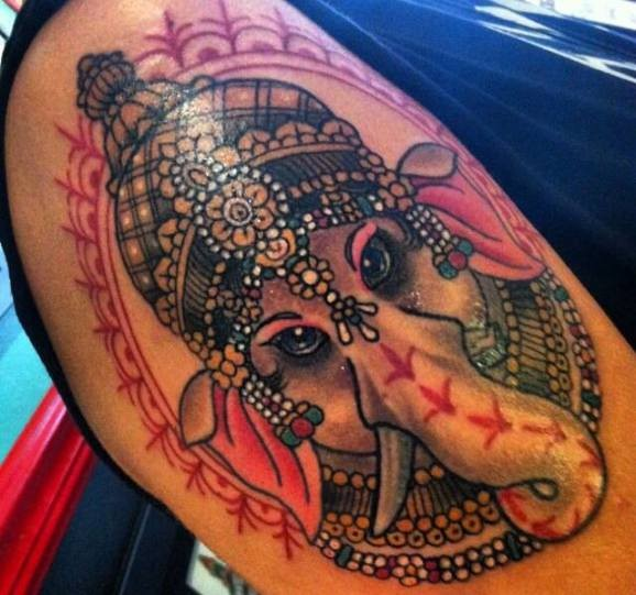 Lovely indian ganesha head  tattoo by Kevin Powell