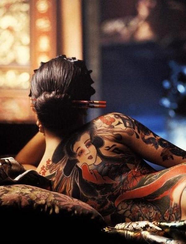 Lovely japanese tattoo on back for women