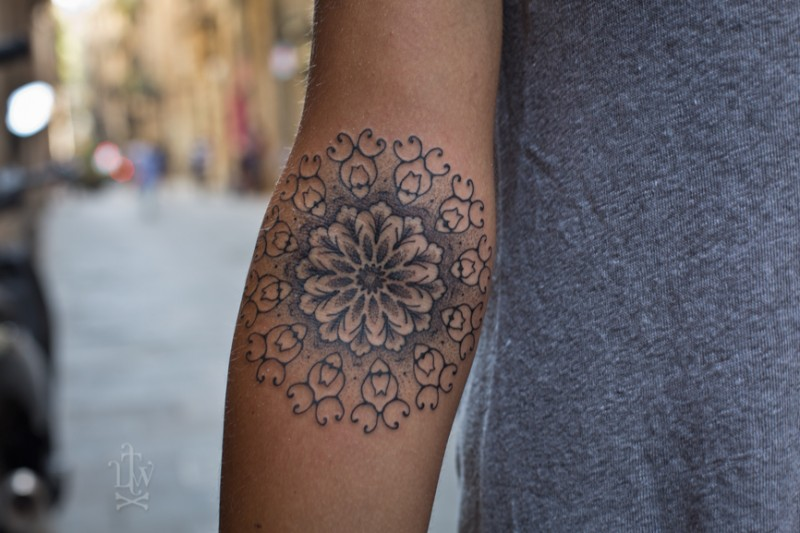 Mehndi Tattoo Peacock Feather : Lovely mandala forearm tattoo for women tattooimages.biz