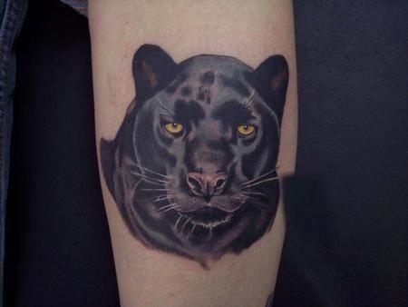 Tatuaggio bellissimo sul braccio la pantera nera