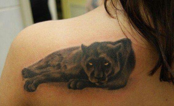 Lovely resting panther tattoo on shoulder blade