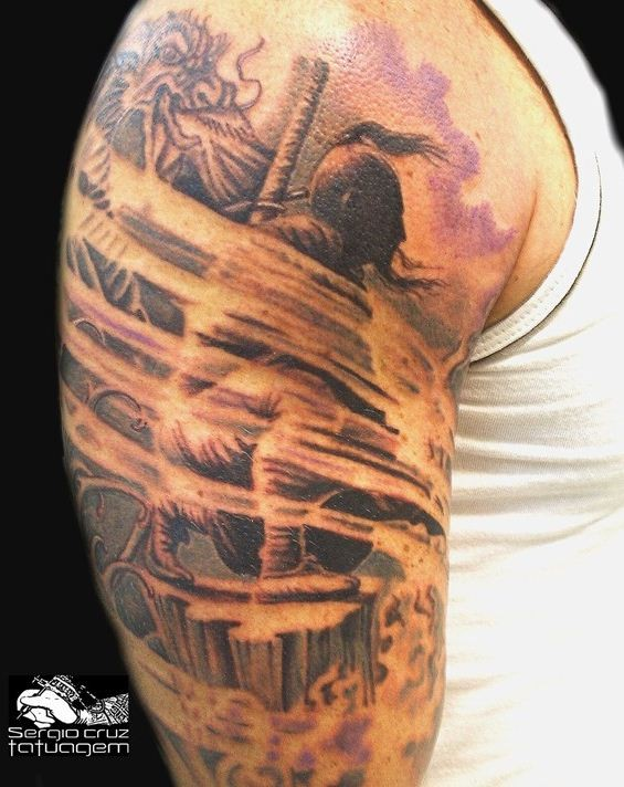 Lovely sad samurai tattoo on half sleeve