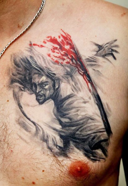 Lovely samurai with sword tattoo by Dmitriy Samohin