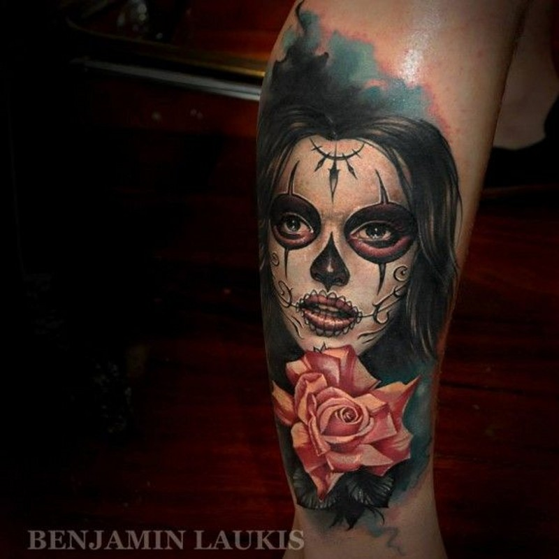 Lovely santa muerte girl tattoo on leg by Laukis