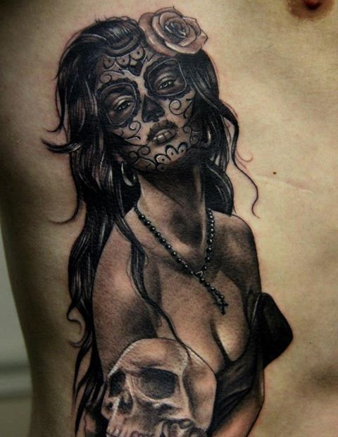 Lovely sexy day of the dead girl tattoo