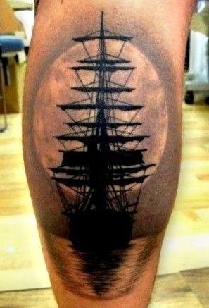 lovely ship at sunset tattoo on leg. Black Bedroom Furniture Sets. Home Design Ideas