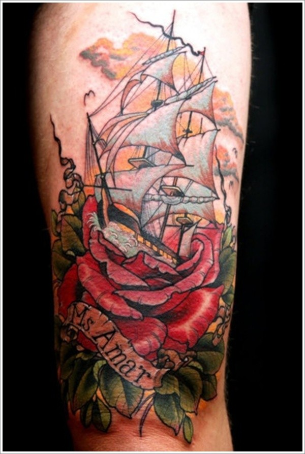 Lovely ship emerged from roses tattoo
