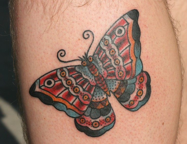 Lovely traditional butterfly tattoo on leg