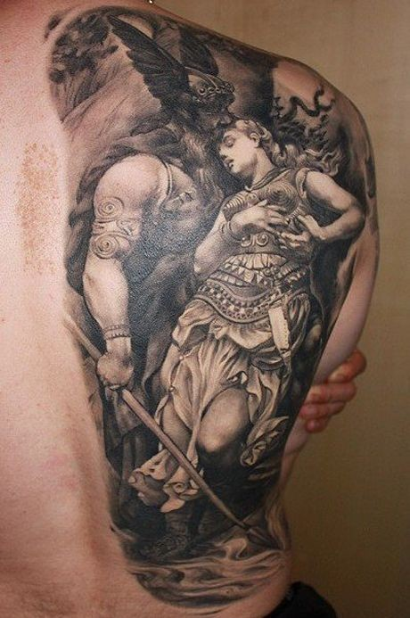 Lovely viking and women tattoo on back