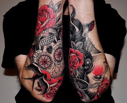 Lovely vivid colors sugar skull tattoo on forearm