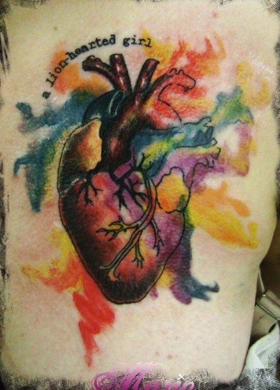 Lovely watercolor heart tattoo Watercolor Heart Tattoo