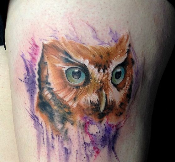 Lovely watercolor owl tattoo for Watercolor owl tattoo
