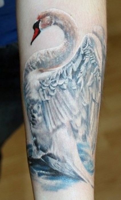 Tatuaggio impressionante sul braccio il cigno bianco