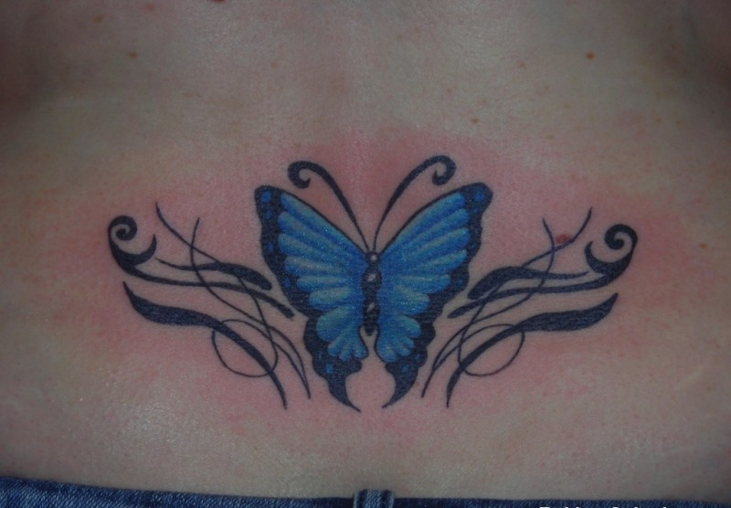 Lower back cute butterfly tattoo for girls