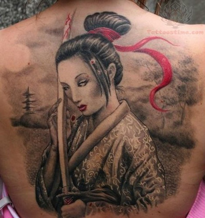 852034f80 Magical natural looking colored whole back tattoo of Asian woman with bloody  sword