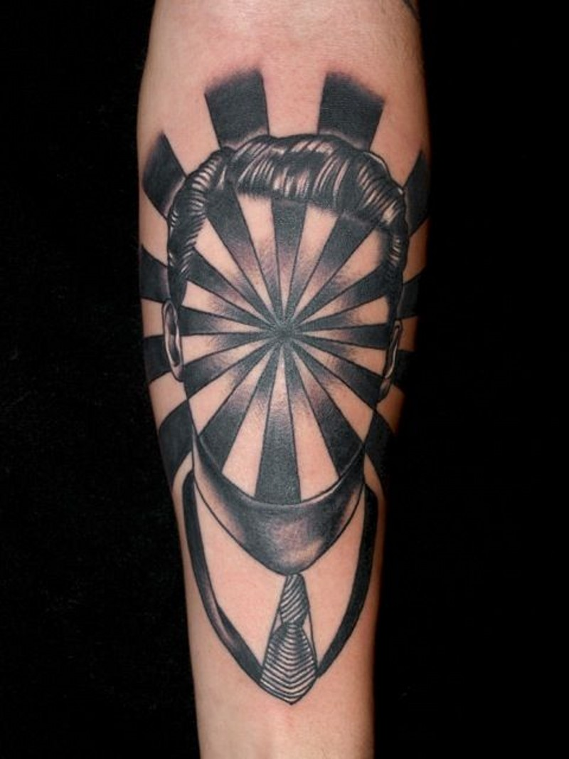 Magical style painted black and white portrait tattoo on arm