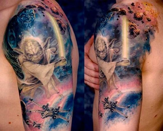 Magnificent 3D like colored shoulder tattoo of various Star Wars heroes and space ships