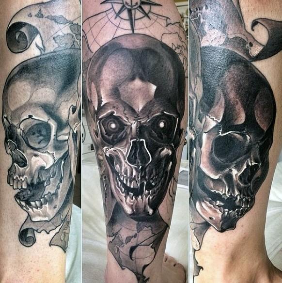 magnifico 3D cranio tatuaggio su braccio